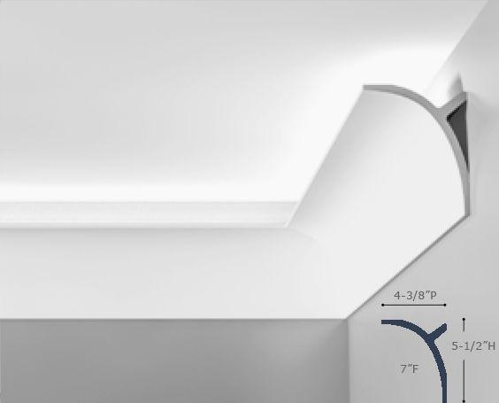 Belvedere cove molding for indirect lighting installed up light