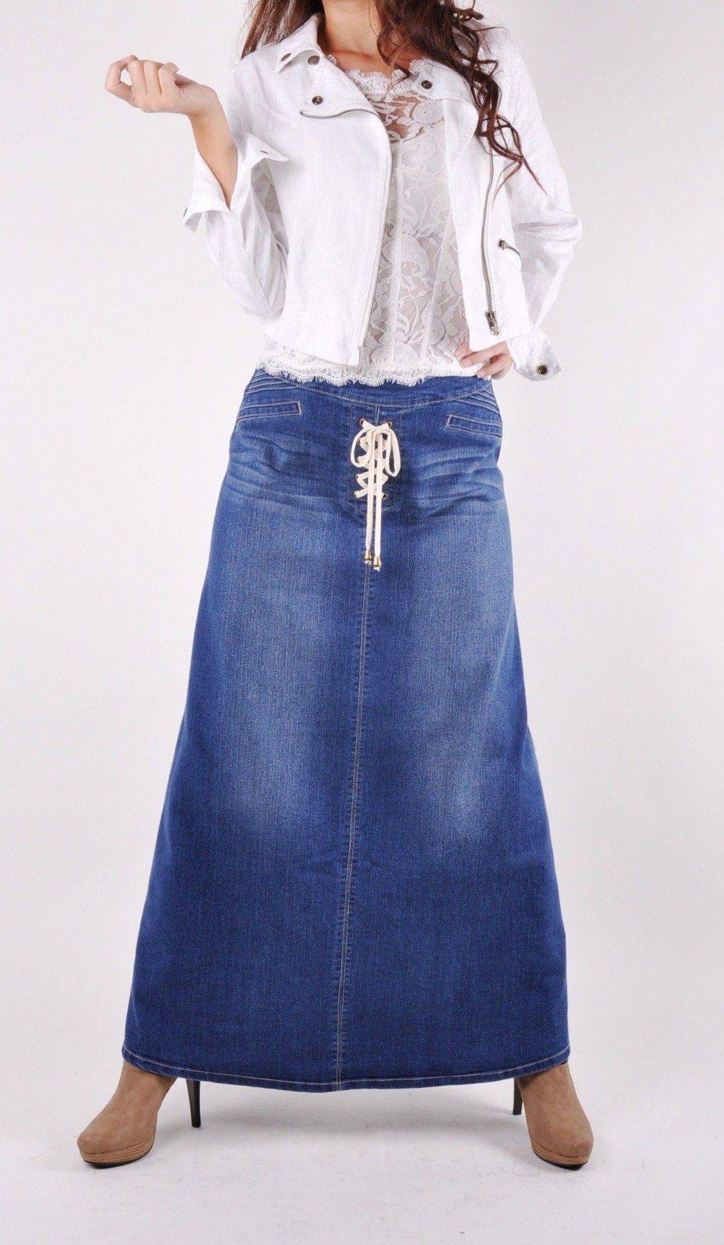 Fashion style Long cute denim skirts for woman