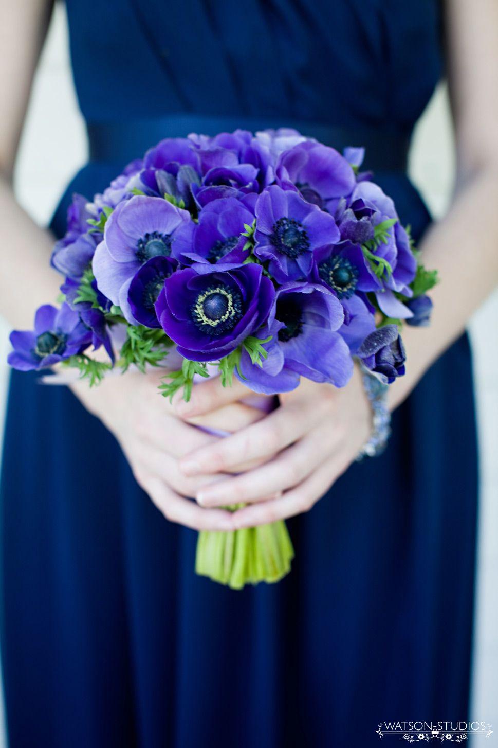 blue anemone wedding flower bouquet, bridal bouquet