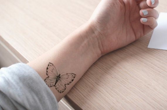 butterfly tattoo / fake tattoo / black and white butterflies tattoo / girly tattoo / big tattoo / girl temporary tattoo by temp tat