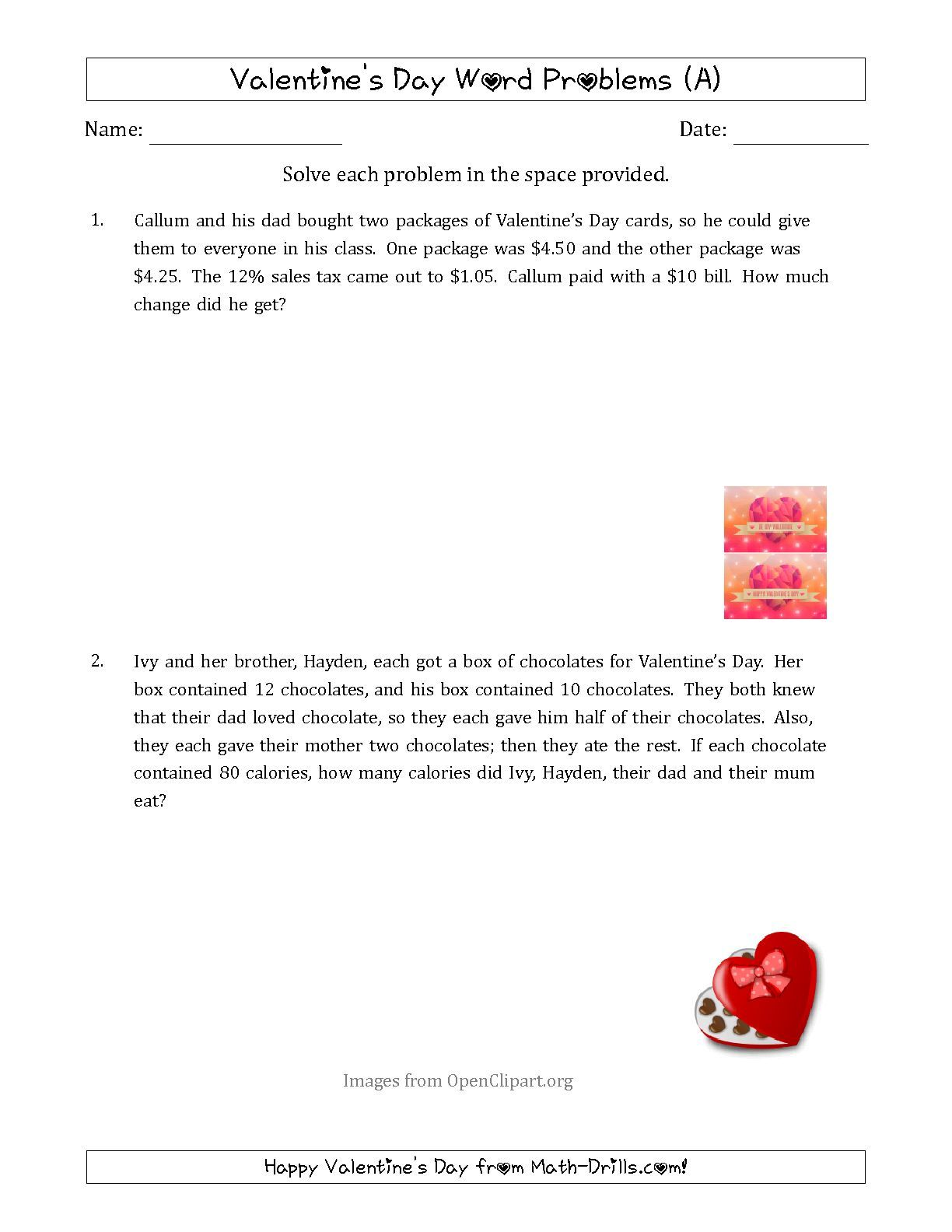 The Valentine S Day Math Word Problems Multi Step A