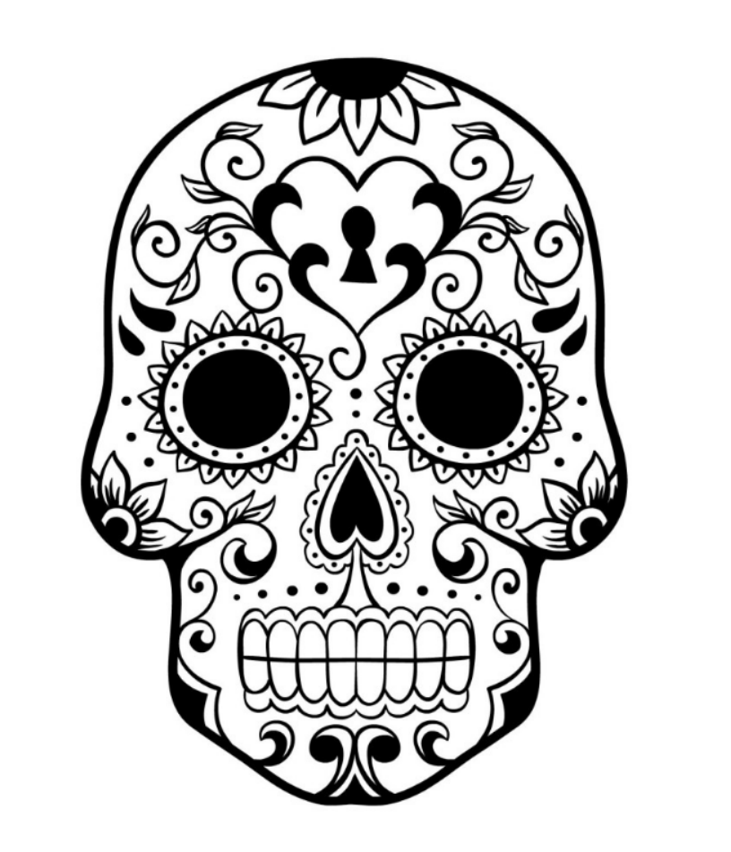 simple sugar skull coloring pages kids colouring pages