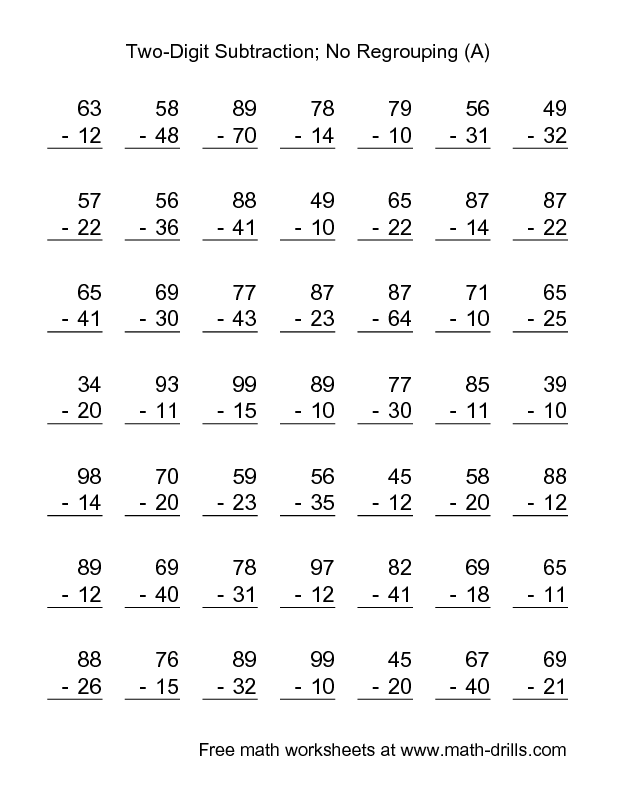 Subtraction Worksheet -- Two-Digit Subtraction with No Regrouping ...