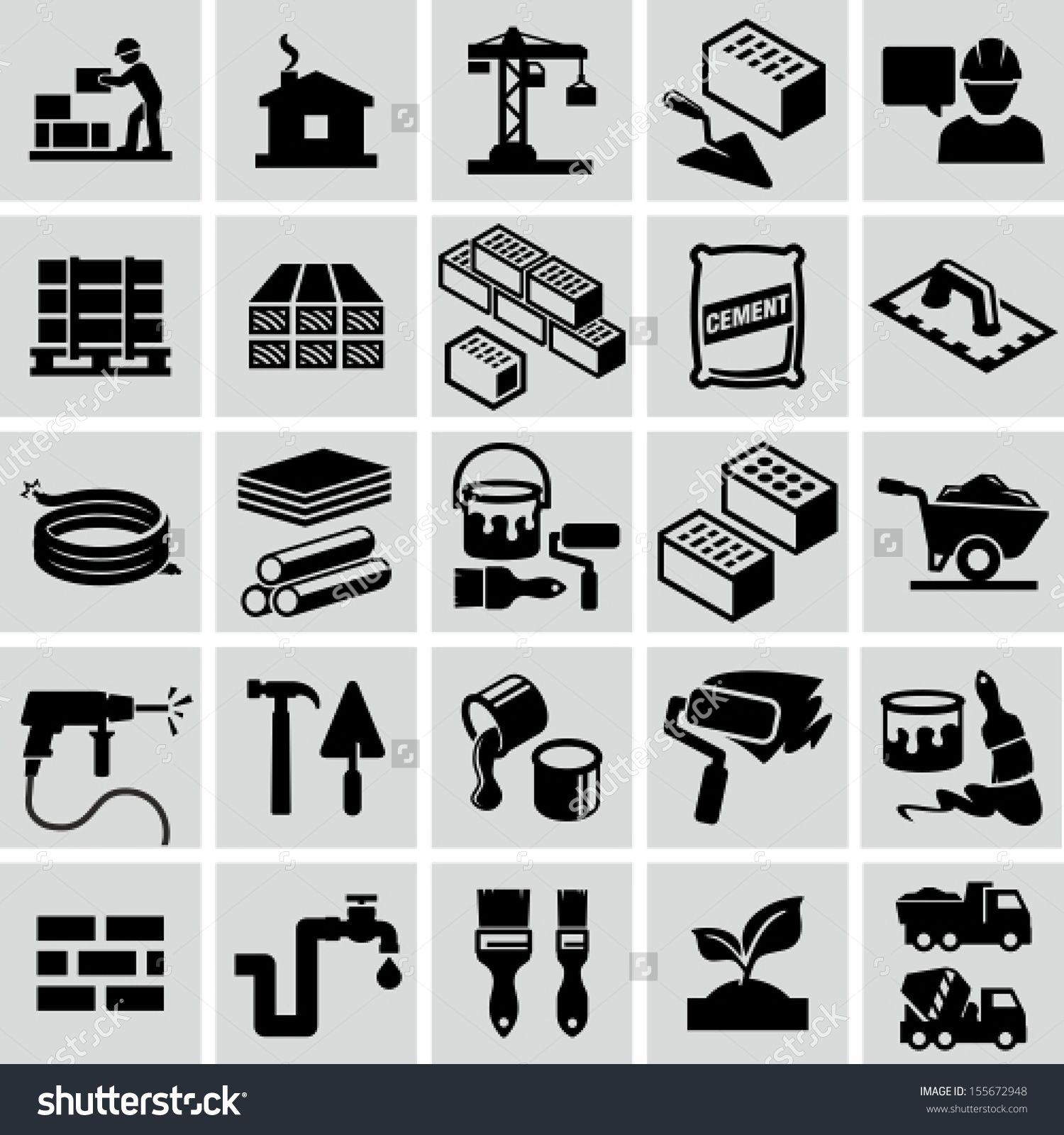 Construction Building Materials Construction Equipment Icons