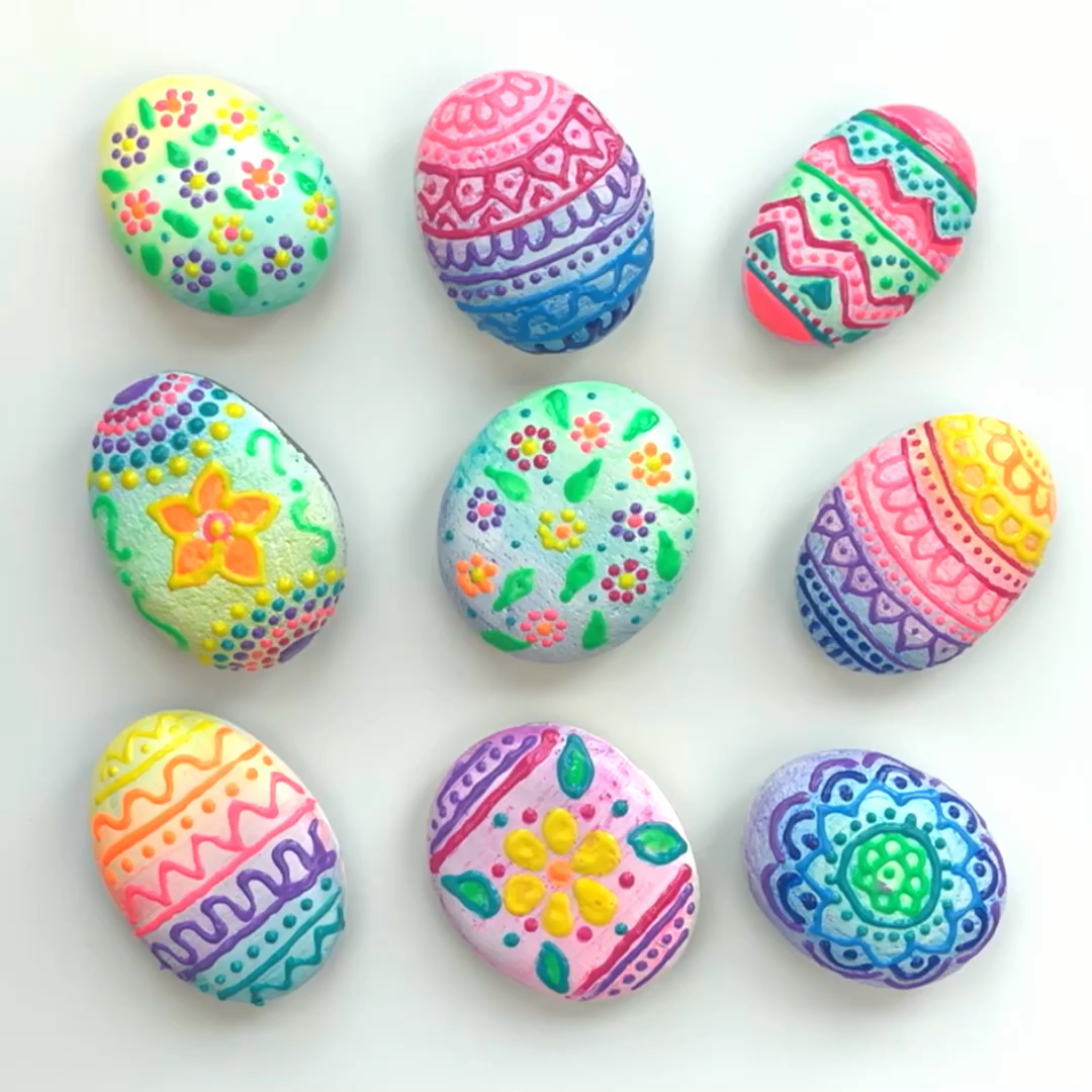 Photo of Rock Painting Designs Using Puffy Paint • Color Made Happy – Blog