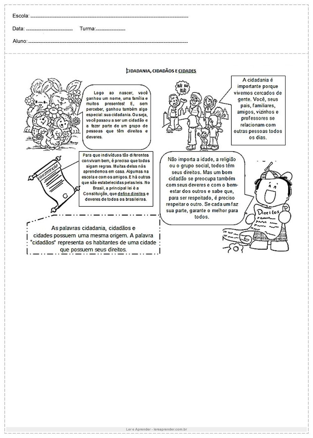 Atividades Sobre Cidadania Cidadaos E Cidades Atividades Sobre