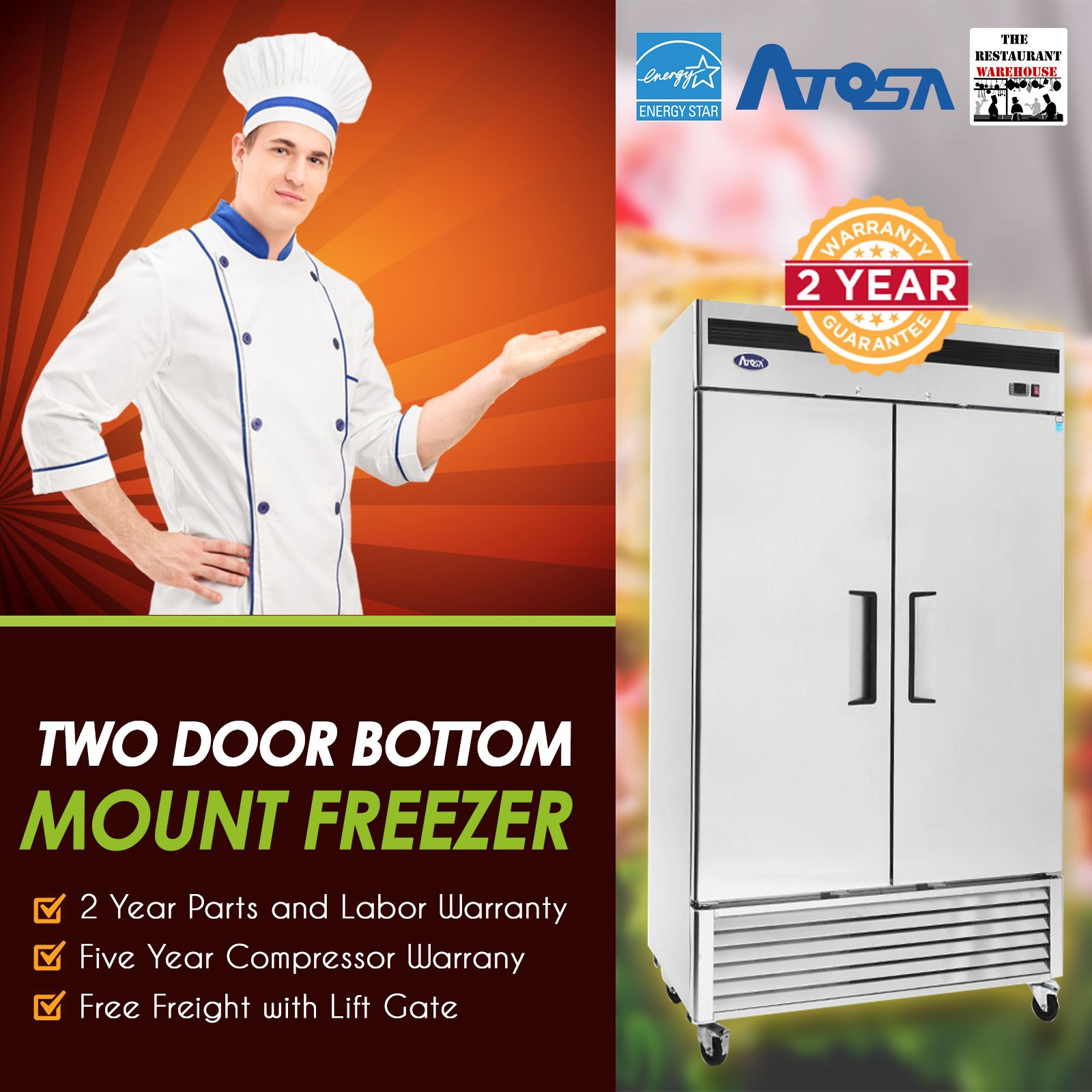 Atosa USA MBF8503 55Inch Two Door Upright Freezer