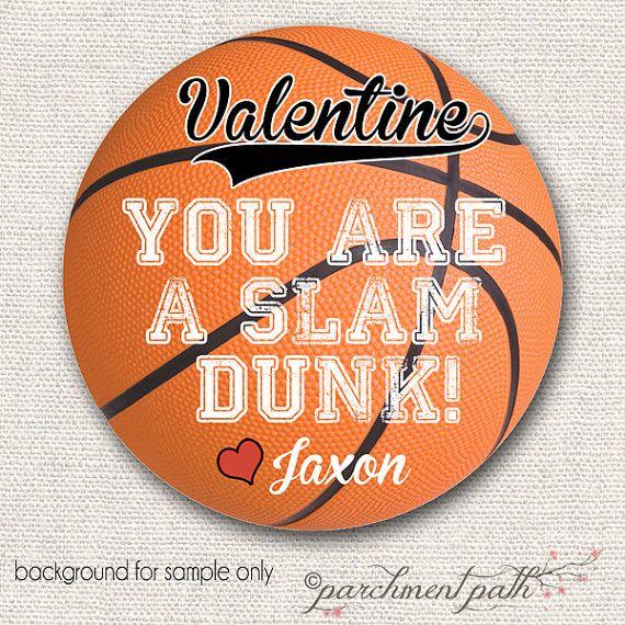 Printable basketball Valentines Day Card slam dunk valentine – Basketball Valentine Cards