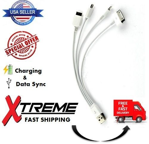 Details About 8 Short 4in1 Usb Sync Charger Cable For Iphone5 4 6 7 8 X Plus Charging Samsung Charging Cord Usb Sync