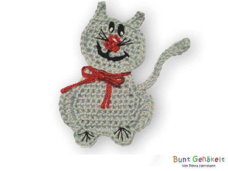 Katze Gehäkelte Applikation Von Bunt Gehäkelt Von Petra Auf