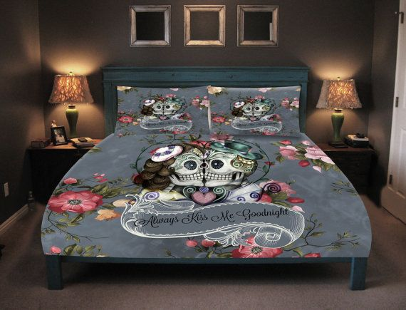 Sugar Skull Comforter Sugar Skull Duvet Cover Skull Bedding Day Of The Dead Kissing Skulls
