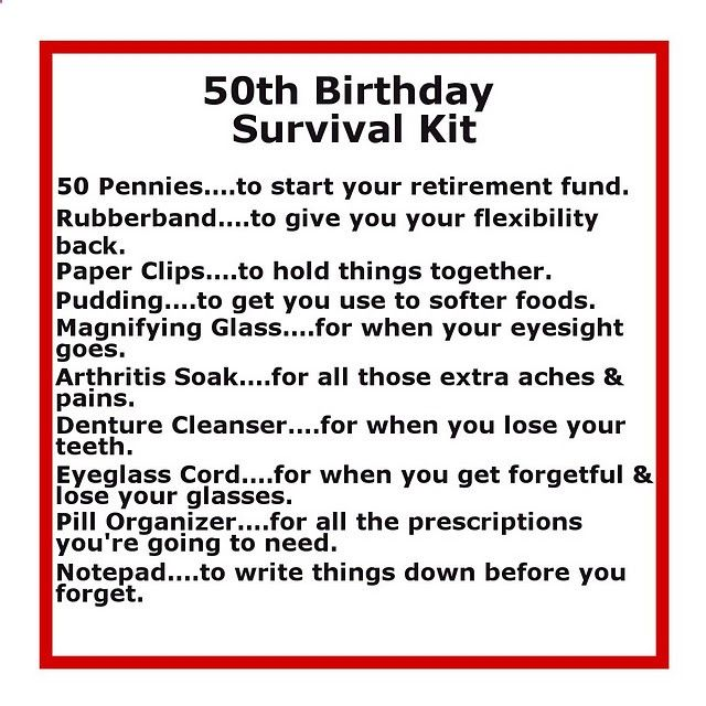 Survival Kits With Cute Sayings 50 Th Birthday Survival Kit