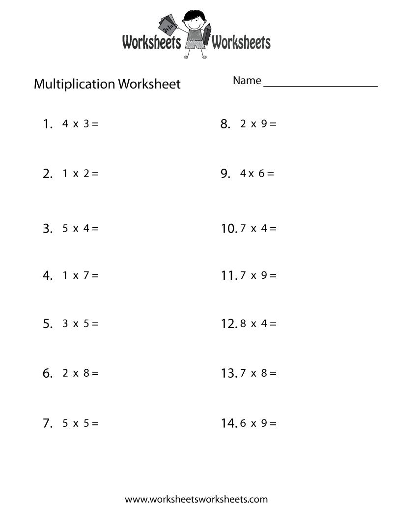 Fun Multiplication Worksheet