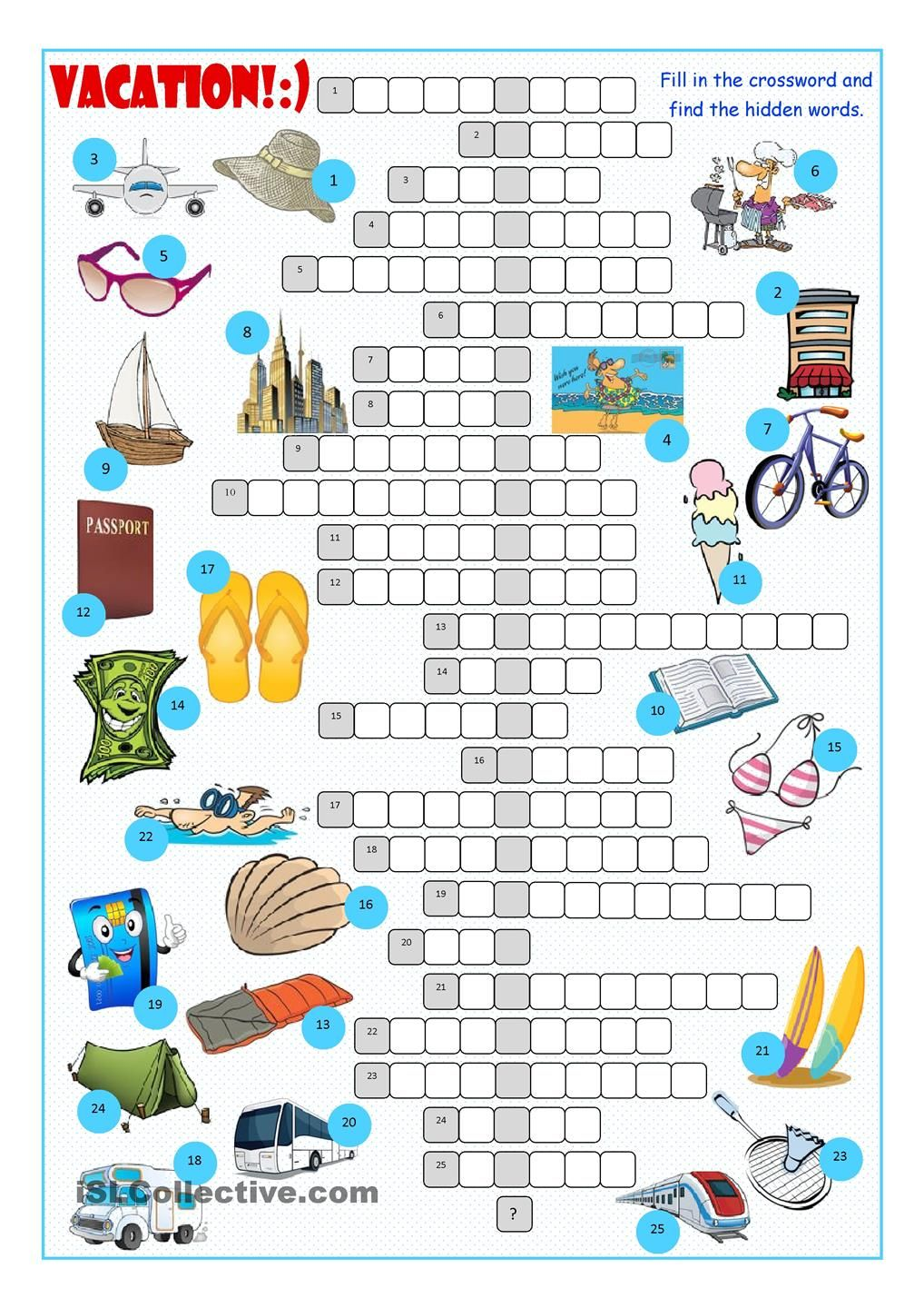 Vacation Crossword Puzzle (With images) Crossword