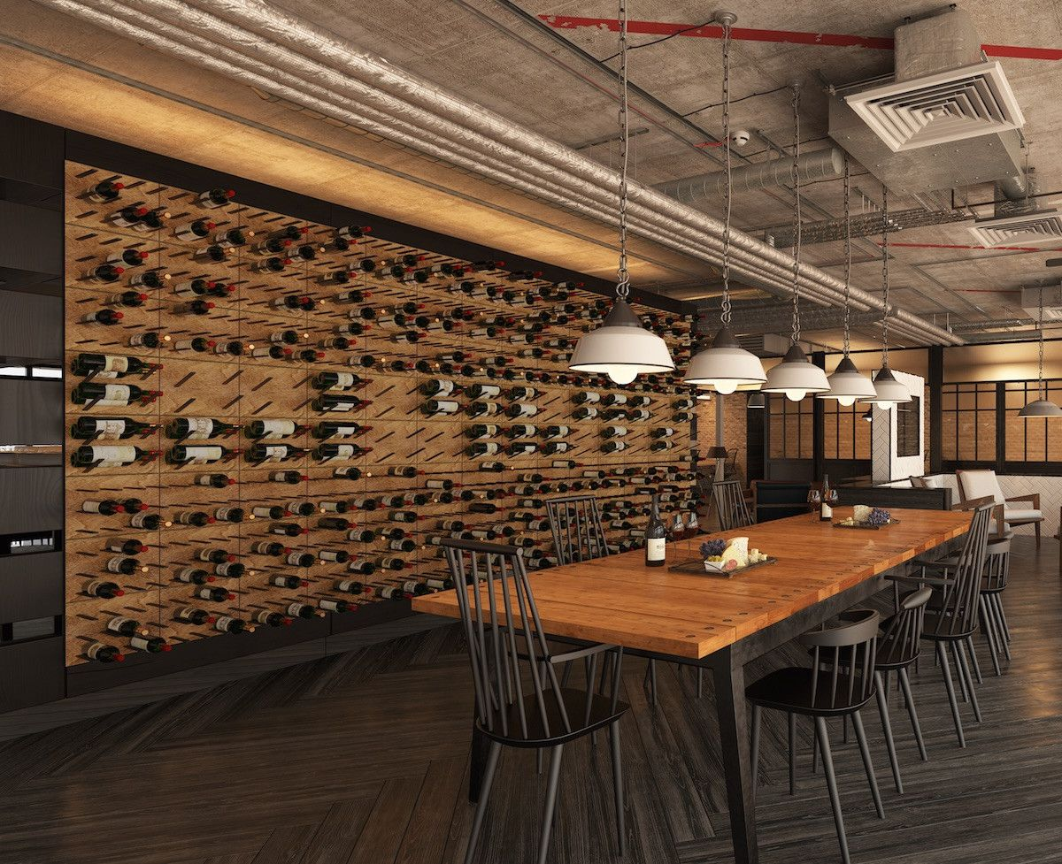 Rustic industrial restaurant design wine cellar ideas