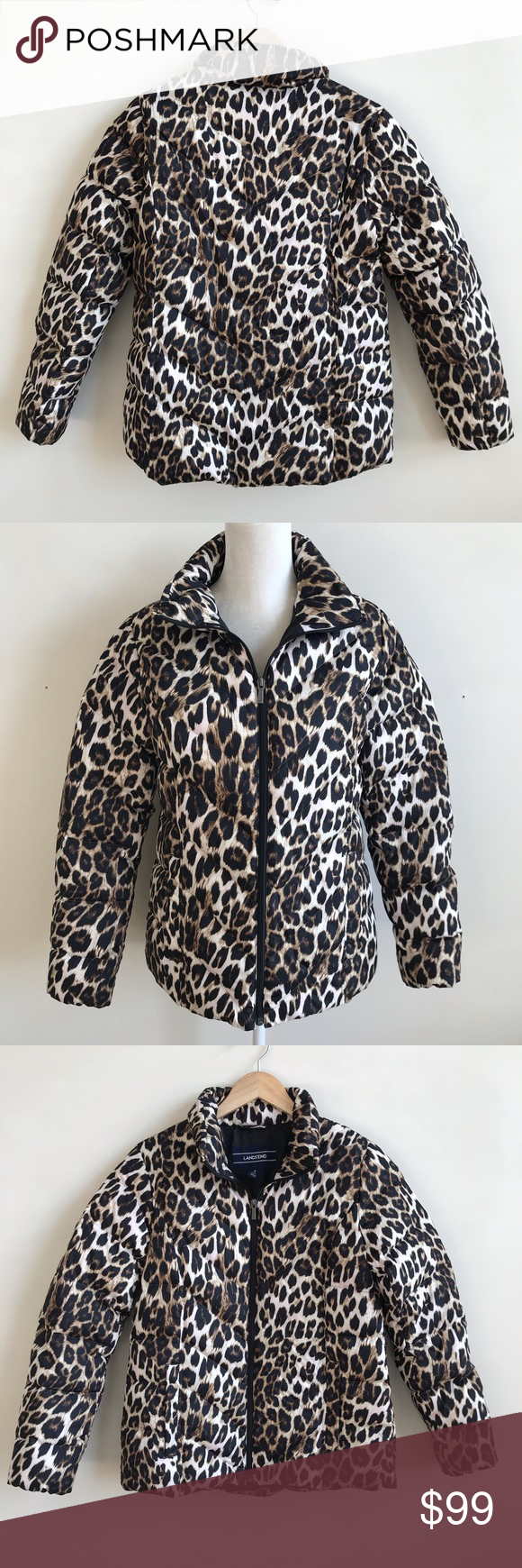 d0b7864a20b4 Lands End Leopard Responsible Down Puffer Jacket Leopard print Puffer jacket  from Lands End. Size Small (will fit 6-8). This is brand new, never worn,  ...