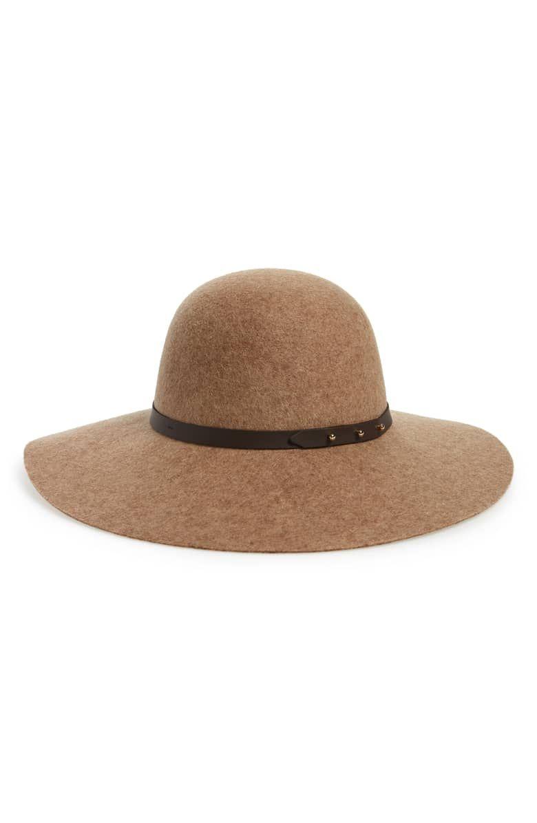 efaef8fa Refined Wide Brim Wool Floppy Hat, Main, color, TAN CAMEL HEATHER ...