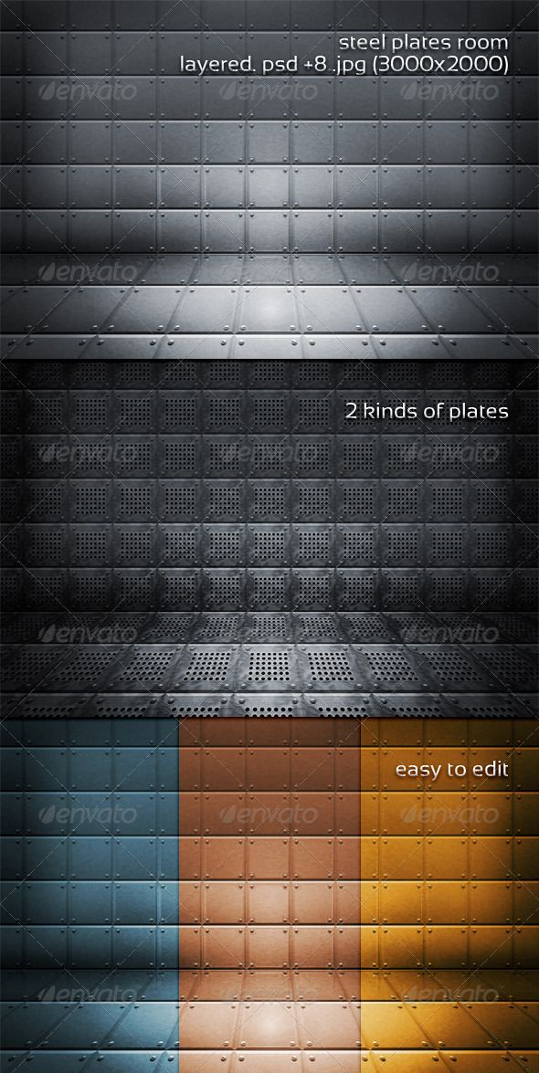 Steel Plates Room  #GraphicRiver         layered .psd + 8 .jpg (3000×2000) Easy to edit         Created: 17September11 GraphicsFilesIncluded: PhotoshopPSD #JPGImage Layered: Yes MinimumAdobeCSVersion: CS5 PixelDimensions: 3000x2000 PrintDimensions: 10x6.6 Tags: 3d #abstract #backdrop #background #center #decorative #design #elegant #floor #hard #high #industrial #iron #lines #metal #modern #pattern #plate #room #sheet #shining #silver #space #stage #steel #strong #texture #tile #wall…