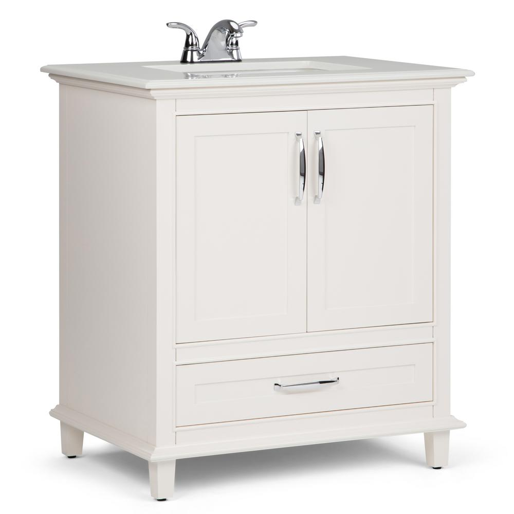 Simpli Home Ariana 30 In W X 22 In D Bath Vanity In Soft White