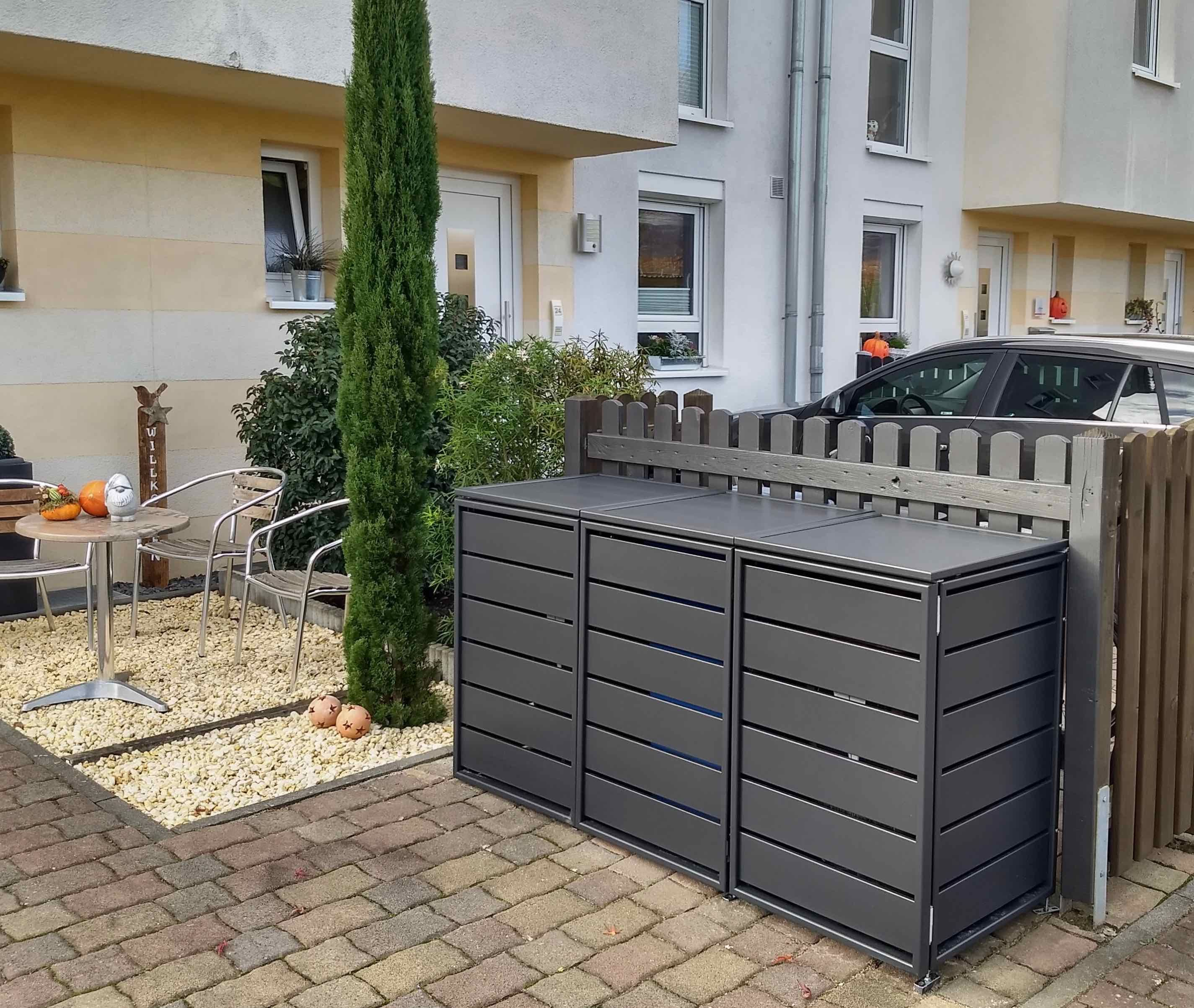 3er Mulltonnenbox Aluminium Classic 120l Mulltonnenbox Hintergarten Hauseingang Gestalten