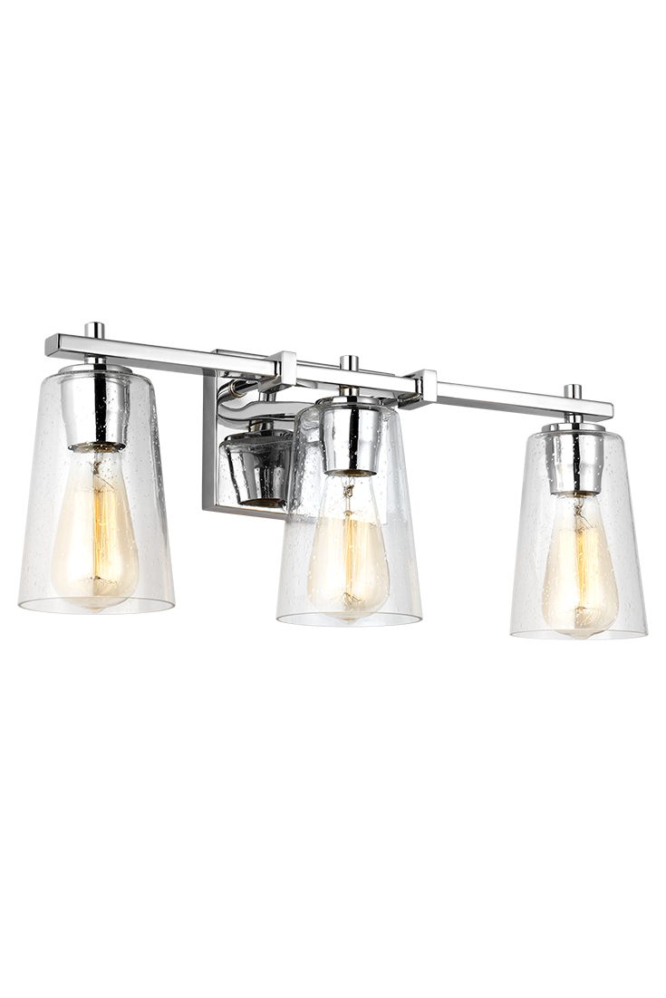 The Mercer 3 Light Vanity Fixture By Feiss Has Modern Details Like Clean Square Supports Of Cross Arm And Sleek Rectangular Backplate