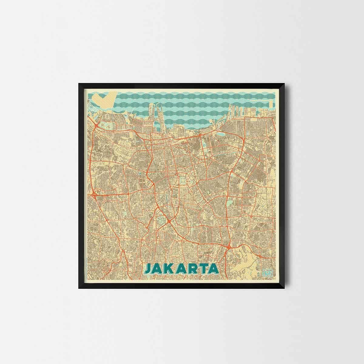 Jakarta City Prints - City Art Posters and Map Prints   Jakarta, Art ...