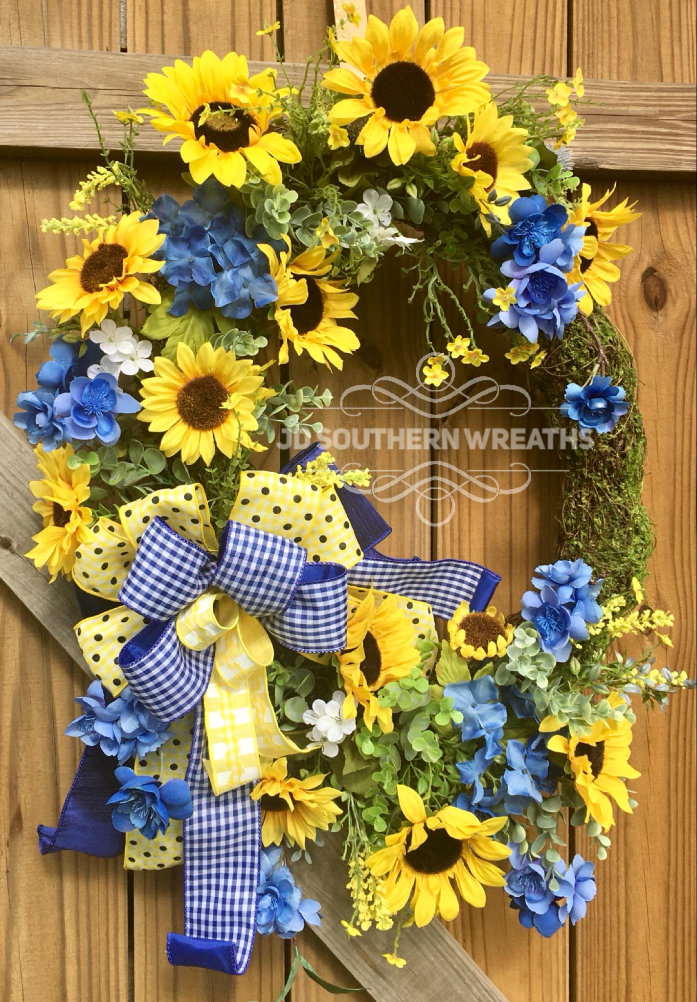 Photo of Moss Sunflower Wreath, Spring Wreath, Summer Wreath