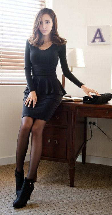 Office pantyhose miniskirts