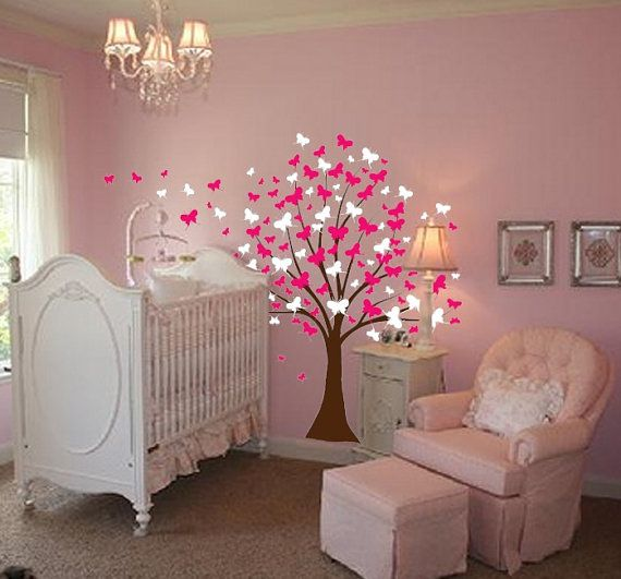 Large Wall Tree Baby Nursery Decal Butterfly Cherry Blossom 1139 (8 ...