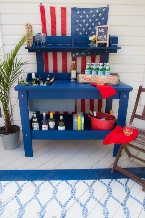 Outdoor potting bench turns DIY bar cart. A Metamorphosis. - Heathered Nest | Rule Your Roost . Dress Your Nest . Ruffle Some DIY Feathers