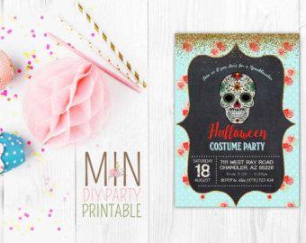 Skull Card Invite 2 Sugar Skull Invitation Day Of The Dead