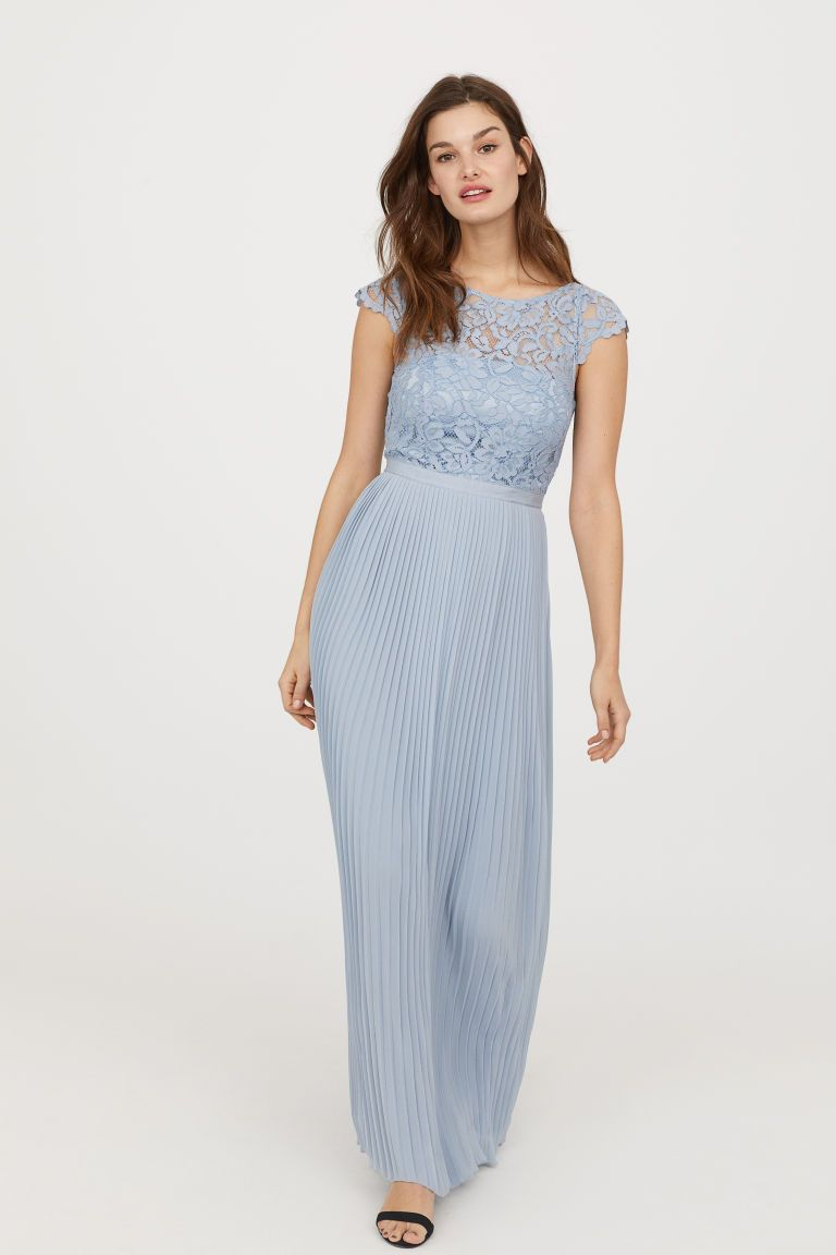 f123ca4ddc650 Robe longue plissée - Bleu clair - FEMME | H&M FR 1 Mode, Robes De
