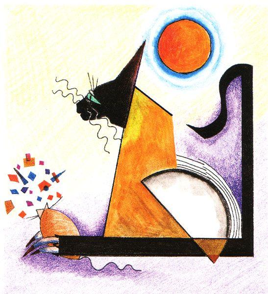 Chat A La Maniere De Kandinsky Art Abstrait Resume Et Kandinsky