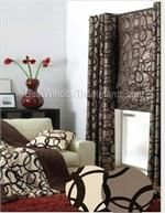 Metropolitan Flocked Curtain Drapery Panels in latte/chocolate color with overlapping geometric flocked circle pattern - grommets, back-tabs or rod pocket window treatments