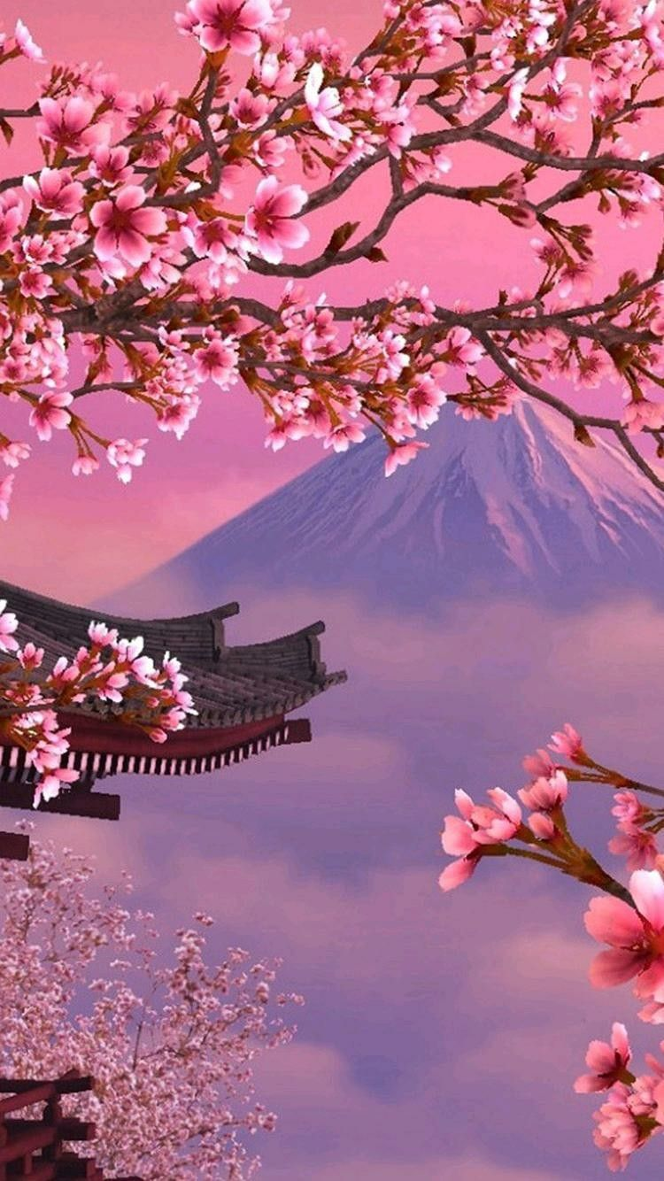Japan Wallpaper Cherry Blossom Painting Cherry Blossom Wallpaper Japanese Wallpaper Iphone