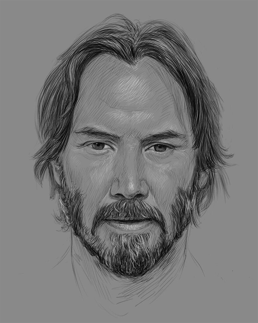 Keanu Reeves drawing, pirro art 💻 👨🎨