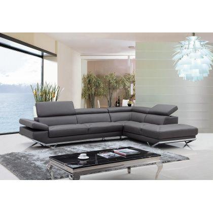 Vig Quebec Divani Casa Modern Dark Grey Leather Sectional Sofa Cuisine Design Moderne Design Moderne Moderne