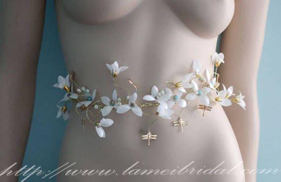 Handmade Ivory white and Golden small Flower Wedding Sash