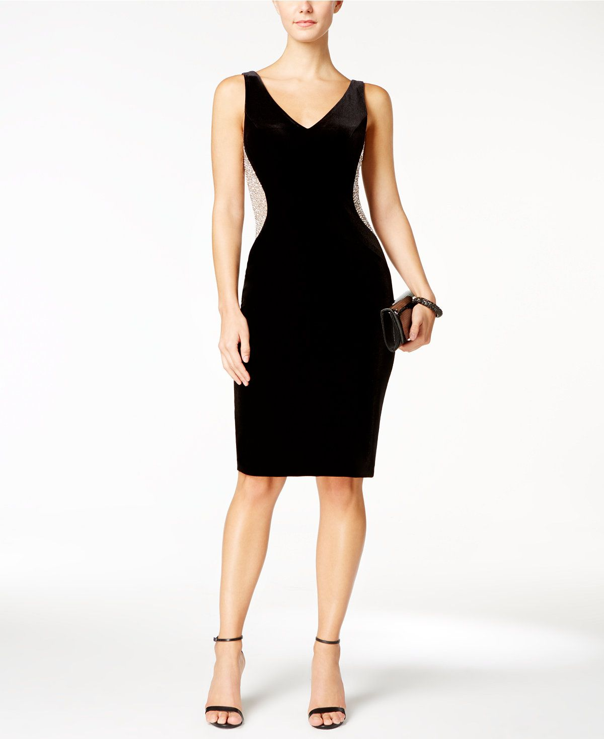 Xscape velvet beaded illusion sheath dress dresses women