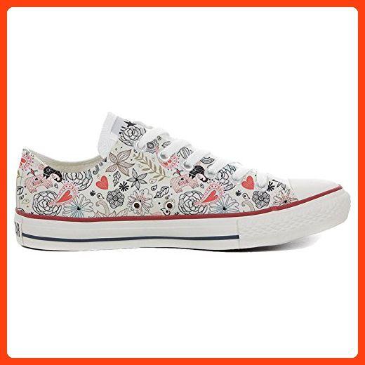 Converse All Star Slim personalisierte Schuhe (Handwerk Produkt) Green Skull  46 EU