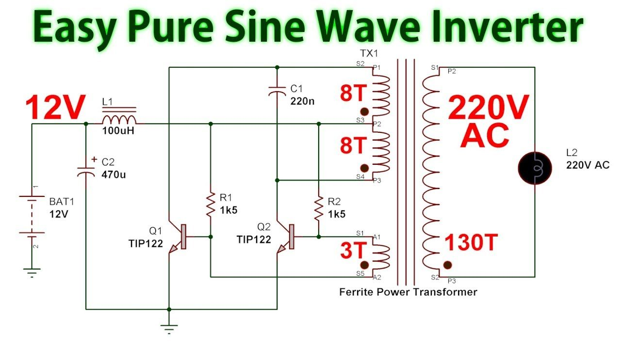 How To Make A Pure Sine Wave Inverter 12v To 220v Dc To Ac In 2020 Electronic Circuit Design Electrical Circuit Diagram Electronic Circuit Projects