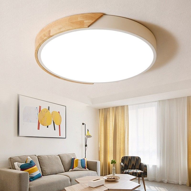 Modern Minimalist Led Drum Shaped Wood Metal Acrylic Flush Mount Ceiling Light In Black In 2020 Ceiling Lights Living Room Bedroom Ceiling Light Living Room Ceiling