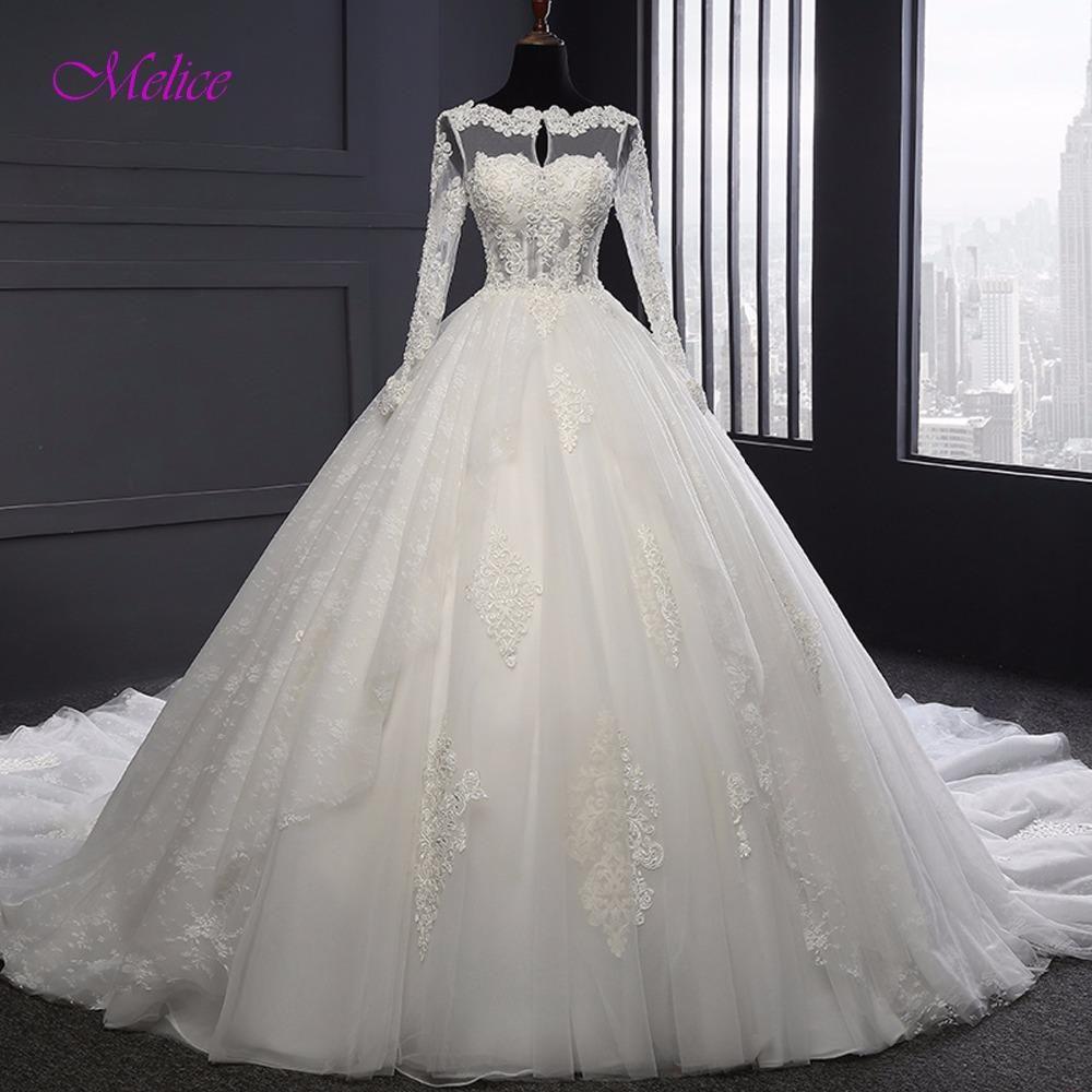 Melice scoop neck robe de mariage appliques long sleeve vintage
