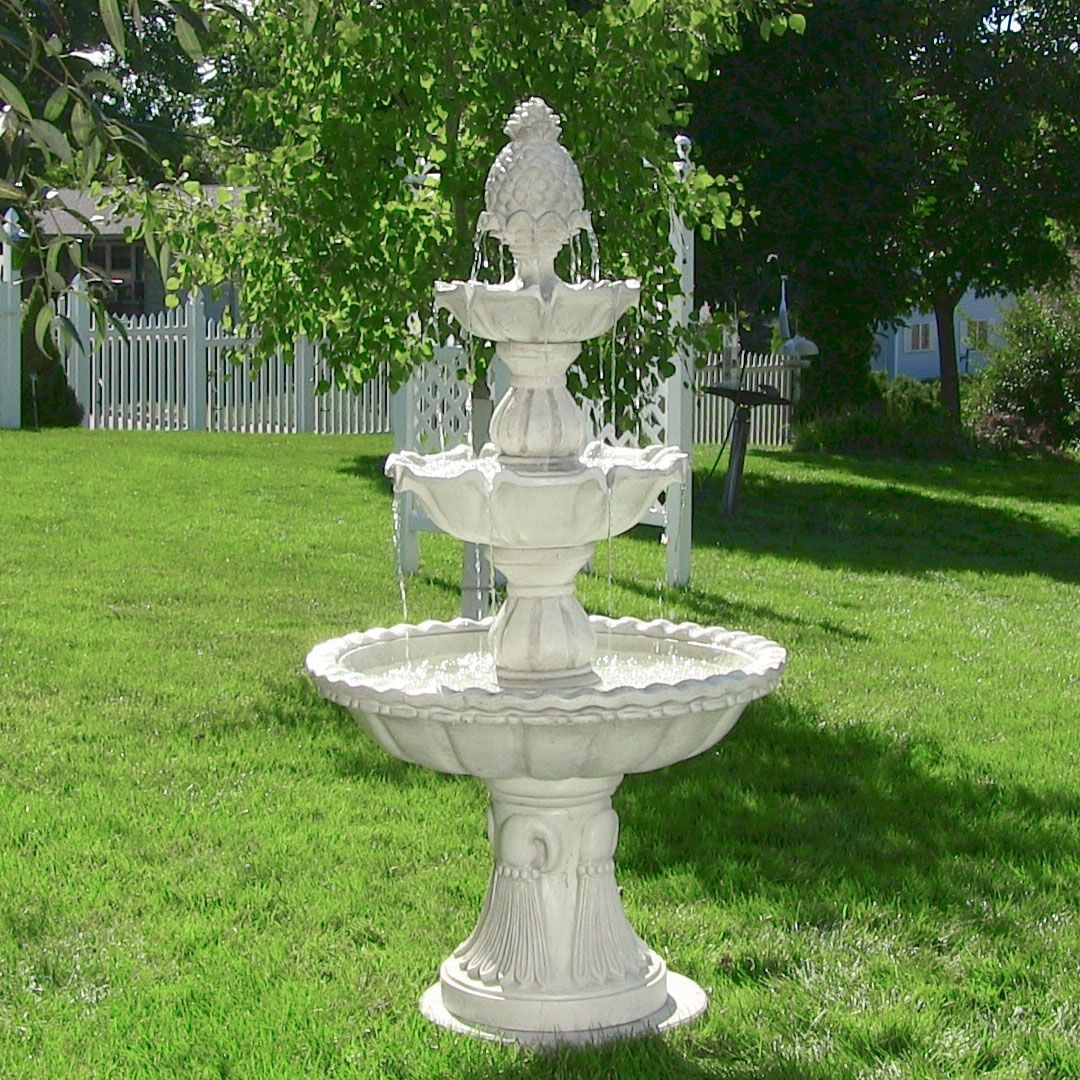 Th is tall 3 tier welcome outdoor water fountain bird bath for Water fountain designs garden