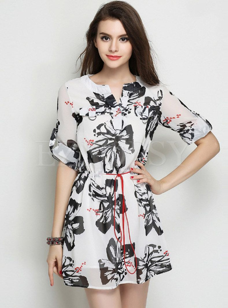 8b7bf3df5e80 Shop for high quality Charming V-Neck Print Summer Dress online at cheap  prices and discover fashion at Ezpopsy.com