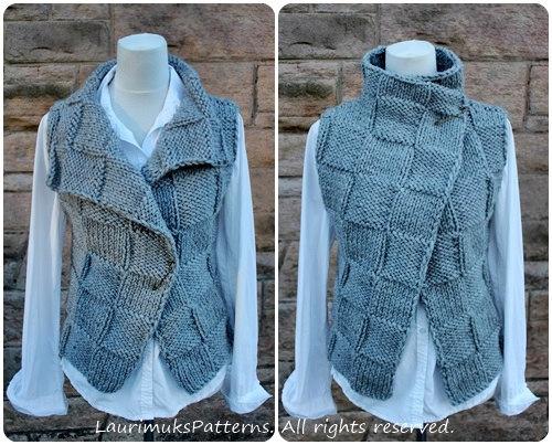 Knitting PATTERN - The Ghost wrap, womens sleeveless jacket ...