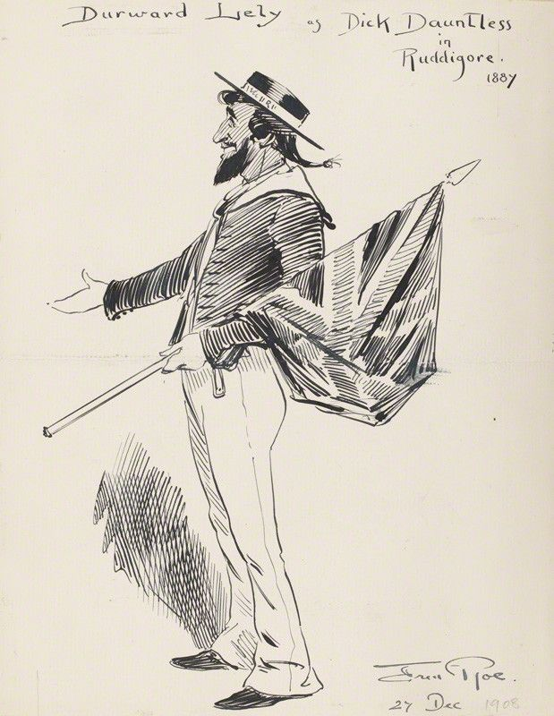 "Durward Lely as Richard Dauntless in the original DOC production of ""Ruddigore"" at the Savoy Theater in 1887; pen and ink drawing by Fred Roe; signed and dated 1908 (""1908"" date possibly added at a different time than the signature?). From the National Portrait Gallery; estate of painter Fred Roe."