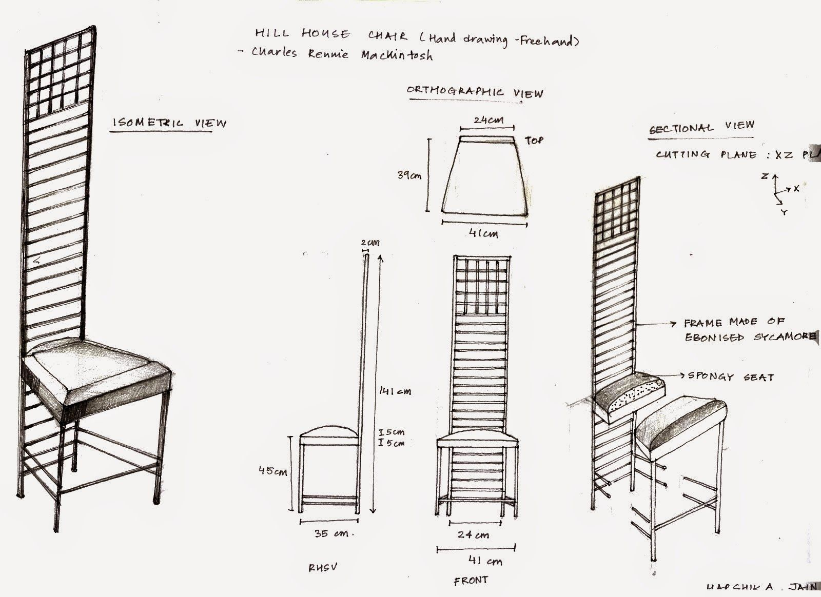 Crypt Decrypt Hill House Chair Sketch Orthographic
