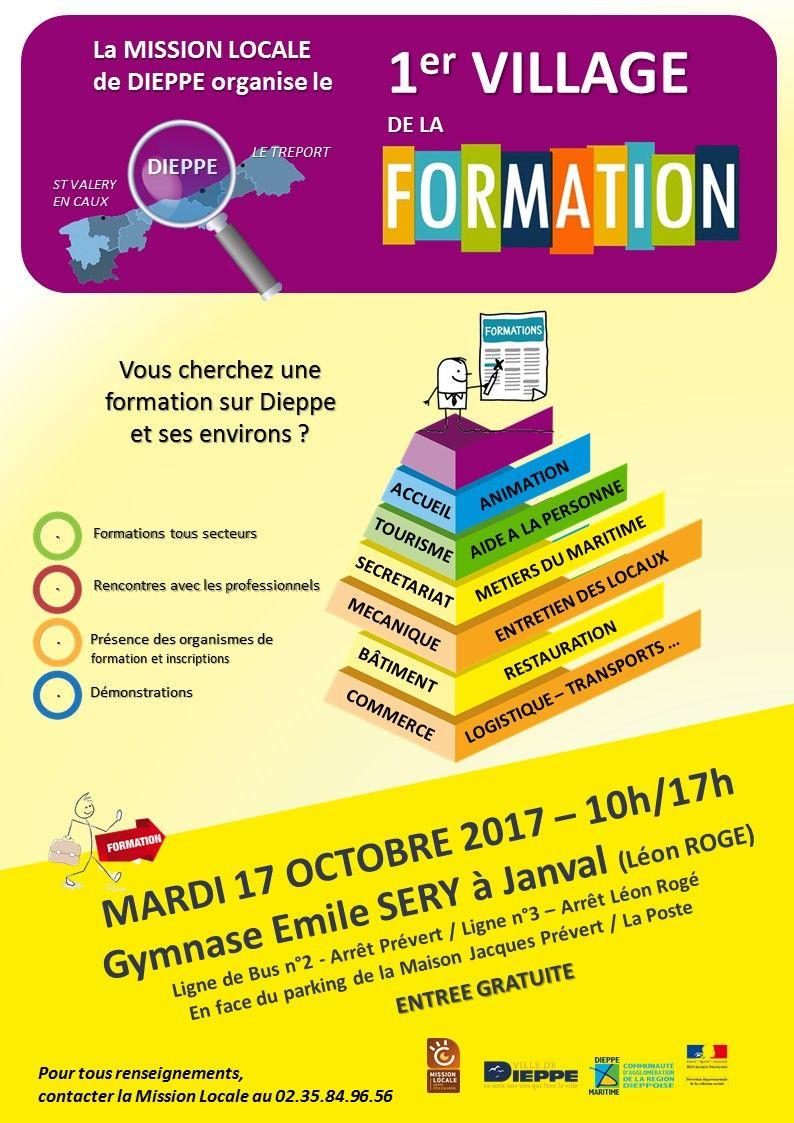 la mission locale de dieppe organise le 1er village de la formation  mardi 17 octobre 2017