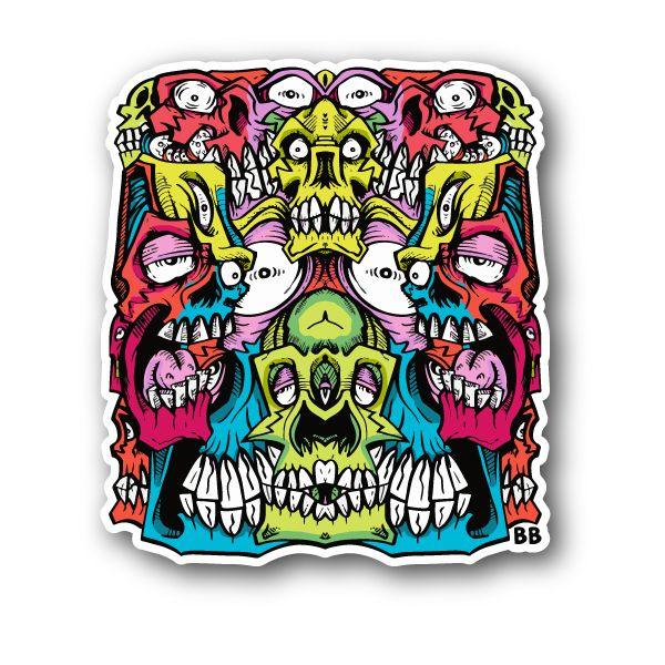 Abstract colorful skulls with eyes and teeth sticker vinyl stickers marijuana stickers clear
